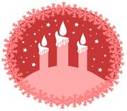 Christmas greeting card in red with candles Royalty Free Stock Photos