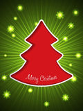 Christmas greeting card with red christmas tree. Christmas greeting card with bursting snowflakes and red christmas tree Royalty Free Stock Images