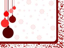 Christmas greeting card in red with decorations Stock Photos