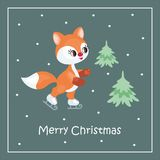 Christmas greeting card with  red fox Royalty Free Stock Photos