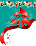 Christmas greeting card with red ribbon Stock Photos