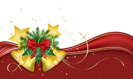 Christmas greeting card. Red ribbon and golden christmas bells with stars and needles. Vector design. Stock Photo
