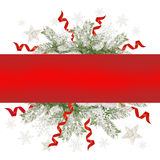 Christmas greeting card with red ribbon and place for text Royalty Free Stock Photo