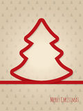 Christmas greeting card with red ribbon tree Royalty Free Stock Photo