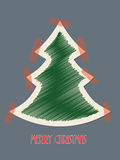 Christmas greeting card with red tapes. Christmas greeting card design with red tapes sticking christmastree to background Royalty Free Stock Image
