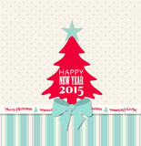 Christmas greeting card with red tree and blue ribbon stock illustration