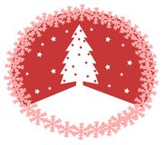 Christmas greeting card in red with tree Stock Photography