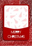 Christmas greeting card in red with trees Royalty Free Stock Photos