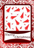 Christmas greeting card in red with trees Stock Images