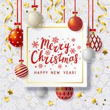 Christmas greeting card with Xmas balls Royalty Free Stock Images