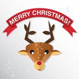 Christmas Greeting Card with reindeer. Stock Photos