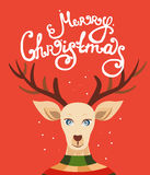 Christmas greeting card with reindeer. Christmas greeting card with reindeer and lettering. Vector illustration xmas celebration. Merry Christmas template for stock illustration