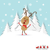 Christmas Greeting Card with reindeer. Vector illustration. Stock Photo