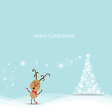 Christmas Greeting Card with reindeer. Vector illustration. Royalty Free Stock Photo