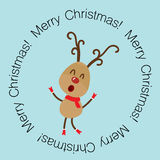 Christmas Greeting Card with reindeer. Vector illustration. Stock Image