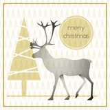 Christmas greeting card with reindeer. Vector modern christmas greeting card with reindeer Royalty Free Stock Photos