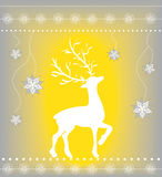Christmas greeting card with reindeer on yellow and silver Stock Photos