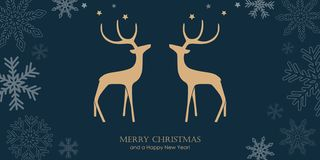 Christmas greeting card with reindeers and snowflake border stock illustration