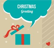 Christmas greeting card with retro colored present box Royalty Free Stock Images