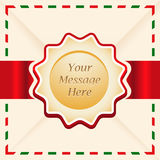 Christmas or greeting card with ribbon. Royalty Free Stock Photos