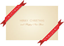 Christmas  greeting card with  ribbons Royalty Free Stock Image