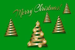 Christmas greeting card. With ribbons fir trees. Vector illustration EPS10 Stock Image