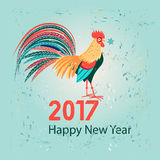 Christmas greeting card with a rooster Stock Images