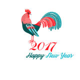 Christmas greeting card with a rooster Royalty Free Stock Photo
