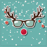 Christmas greeting card with Rudolf. Vector greeting card for Christmas with deer Rudolf in hipster glasses Royalty Free Stock Images
