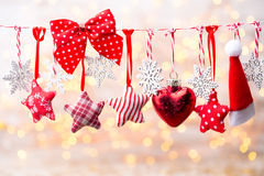 Christmas greeting card with christmas rustic decorations. Stock Photos