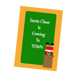 Christmas Greeting Card. Santa, chimney on the green background. Vector illustration Stock Photography