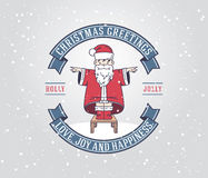 Christmas greeting card with santa claus boy Stock Photography