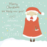 Christmas greeting card with Santa Claus Royalty Free Stock Image