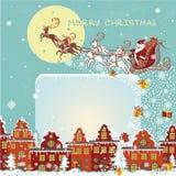 Christmas greeting card.Santa Claus coming to City Royalty Free Stock Image