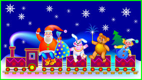Christmas greeting card with Santa Claus and funny toys. Royalty Free Stock Images