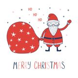 Christmas greeting card with Santa Claus. Hand drawn Christmas greeting card with a cute cartoon Santa Claus with a bag, text Merry Christmas, Ho ho ho. Isolated Stock Photos