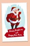 Christmas greeting card with Santa Claus holding gift bag. Santa Claus character. congratulations card. wooden banner. Christmas greeting card with Santa Claus Stock Photo