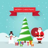 Christmas greeting card Santa claus snowman. Near tree with gift box presents, merry christmas and happy new year banner over winter snow background vector illustration