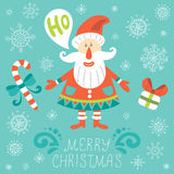 Christmas greeting card with Santa Claus Stock Images