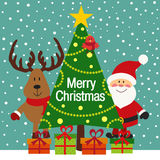 Christmas greeting card with Santa and deer Stock Photos