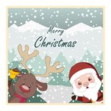Christmas greeting card with Santa and reindeer. Christmas greeting card with Santa and his reindeer Royalty Free Stock Photography
