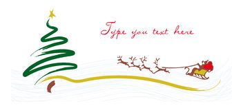 Christmas greeting card with Santa on his sleigh Stock Images