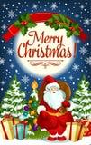 Christmas greeting card of Santa and New Year gift. Christmas greeting card with Santa Claus and New Year gift. Santa with present and Xmas tree festive banner Royalty Free Stock Photo