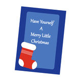 Christmas Greeting Card. Santa`s Boot on the blue background. Vector illustration Royalty Free Stock Photos