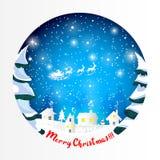 Christmas night winter scene cute postcard Greeting Card with Santa`s sleigh royalty free illustration