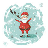 Christmas Greeting card with Santa Stock Image