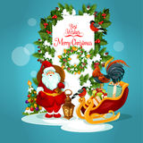 Christmas greeting card with Santa and xmas tree. Santa Claus with gift Christmas greeting card. Santa with present box in sleigh, xmas tree, holly berry and Royalty Free Stock Images