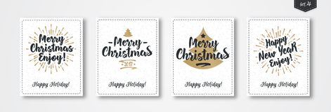 Christmas greeting card set with emblem gold style with sunburst snow holiday background. Christmas greeting card set with emblem gold style consisting sign Royalty Free Stock Images