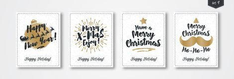 Christmas greeting card set with emblem gold style on white snow holiday background. Christmas greeting card set with emblem gold style consisting sign Happy New Stock Images