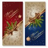 Christmas greeting card set. Festive red and blue background with gold ribbon and bow. Design elements for Christmas and New Year. Vector flyer template Royalty Free Stock Photo